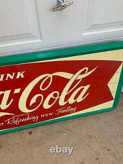 Vintage Coca-Cola Refreshing New Feeling Fishtail Tin Sign Robertson