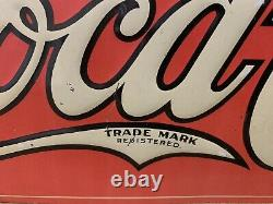 Vintage Coca Cola Sign Tin Tacker Metal Rare Original Bottle Cap Fishtail Gas