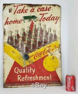 Vintage Coca Cola Take A Case Home Today Red Carpet Tin Sign 28x20 Robertson