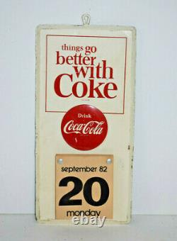 Vintage Coca Cola Things Go Better with Coke Advertising Tin Sign Calendar 1982