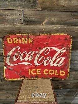 Vintage Coca-Cola Tin Advertising Sign Coke Sign