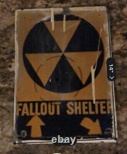Vintage Cold War Era Fallout Shelter Tin Sign