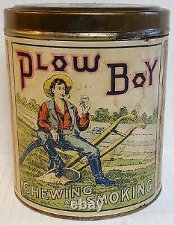 Vintage Collectible Advertising Sign Plow Boy Tobacco Can Original Paper Label