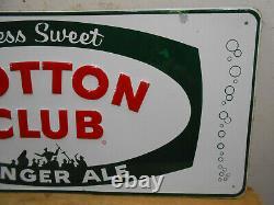 Vintage Cotton Club Ginger Ale Cola 28 X 13 Soda Pop Bottle Store Tin Sign