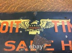 Vintage DETROIT TIMES FOR SALE HERE Newspaper Tin Sign Free Press Advertising