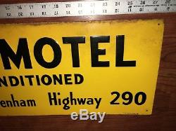 Vintage DIXIE MOTEL Tin Metal SIGN BRENHAM Texas Hwy 290 F & F EDWARDS Dallas TX