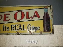 Vintage DRINK GRAPE OLA Tin Advertising SIGN 35x12