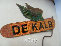 Vintage Dekalb Seed Corn Weathervane Flying Ear Metal Tin 18 Farm Sign w Stake