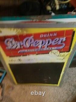 Vintage Dr Pepper Soda Pop Embossed Tin Metal Chalk Board Menu Gas Station Sign