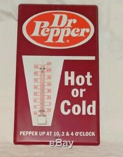 Vintage Dr Pepper Tin Metal Thermometer advertising Hot Cold 10 2 4 o'clock 60's