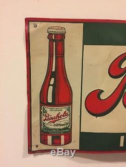 Vintage Drink Birchola In Bottles Embossed Tin Sign Soda Pop American Art Works