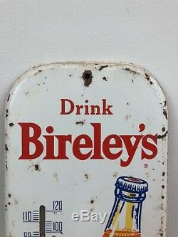 Vintage Drink Bireley's Orange Soda Tin Painted Thermometer Sign Advertisement