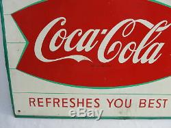 Vintage Drink Coca Cola Mca Metal Tin Sign 20 X 28 Fishtail & Bottle Refreshes