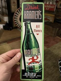 Vintage Drink Kramers Bottling Soda Graphic Bottle Tin Door Push Sign 12x 3.5