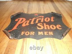 Vintage EARLY Patriot Shoes for Men Scrolled Corner Tin Tacker Advertising SIGN