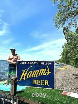 Vintage Early 1950's Rare LG Hamms Beer Embossed Tin Metal Sign 69X46