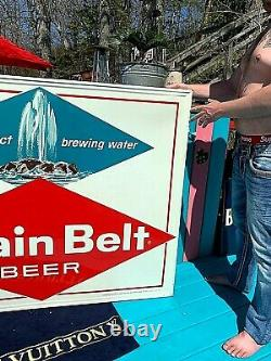 Vintage Early Grain Belt Beer Large Diamond Tin Metal Sign With Fountain 58X46