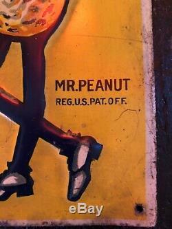 Vintage Early Original Tin Embossed Planters Peanuts Sign