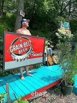 Vintage Early Rare 40's Grain Belt Beer Large Bottle Cap Tin Metal Sign 59X36