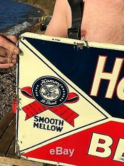 Vintage Early Rare Hamms Beer Smooth Mellow Embossed Tin Metal Sign 24X18