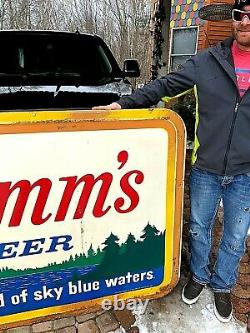 Vintage Early Rare LG Hamms Beer Embossed Tin Metal Sign 73X48