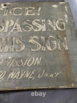 Vintage Early Rare Primitive Hand Painted No Trespassing Tin on Wood Frame Sign