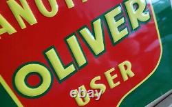 Vintage Embossed Tin Oliver Tractor Another Oliver User Metal Sign
