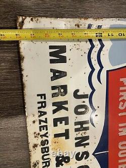 Vintage Evinrude Outboard Boat Motor Advertising Tin Sign Frazeysburg, Ohio