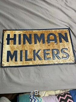 Vintage Farming Cow Hinman Milkers Tin Embossed Original 20 X 11 Sign