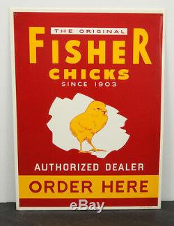 Vintage Fisher Chicks Authorized Dealer RARE Tin/Metal Advertising Sign 15 x 20