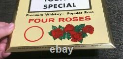 Vintage Four Roses Whiskey Distillers Metal Toc Tin Over Cardboard Sign Nyc