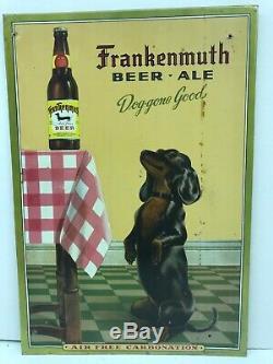 Vintage Frankenmuth Beer Sign Dog Gone Good Tin Over Cardboard Michigan
