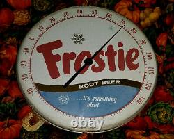 Vintage Frostie Root Beer Soda Pop Advertising Tin Sign Thermometer 495A NICE