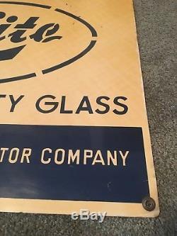 Vintage Genuine Ford Car Lite Auto Glass Tin Sign Excellent Shape