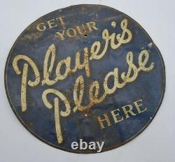 Vintage Get Your Players Please Here Advertising Tin Sign 100% Genuine