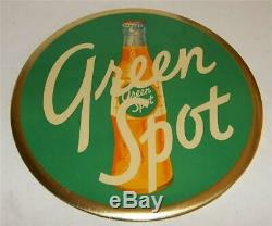 Vintage Green Spot Soda Tin Over Cardboard 9 inch Celluloid Button Sign