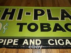 Vintage HI-PLANE 10c Tobacco Pipe & Cigarettes Tin Advertising Sign w Airplane
