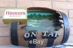 Vintage Hamm's Beer On Tap Outdoor Water Scene Keg Barrel Bar LightTinSign