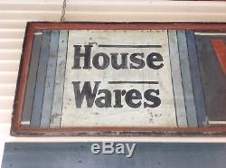 Vintage Hand Painted Tin Sign with Wooden Frame, Very Large, 16' long