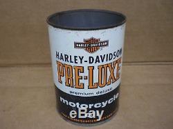Vintage Harley Davidson Quart Oil Tin Can Metal Pre-luxe Antique Sign