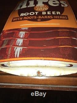 Vintage Hires Root Beer Tin Metal 29 Bottle Shaped Thermometer Made In USA