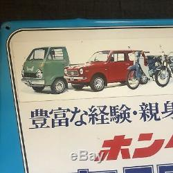 Vintage Honda Tin Sign JDM Dealer 60s 70s TNIII Dream Super Cub LNIII N360 Rare