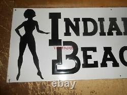 Vintage Indiana Beach Lake Shafer Embossed Tin Amusement Park Sign 10X27