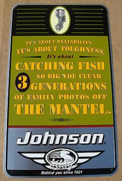 Vintage Johnson Outboard Motors Tin Sign Catching Fish Advertisement Rare