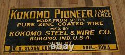 Vintage KOKOMO IN PIONEER ZINC FARM FENCE Tin Embossed ADEL IA Advertising SIGN