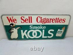 Vintage KOOL Cigarette Advertising Embossed Tin Tacker Sign Penguin Reg 1606