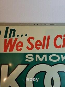 Vintage KOOL Cigarette Advertising Tin Tacker Sign Penguin Reg 1096 Rare