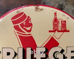Vintage Krueger Beer Sign TOC Button Tin over Cardboard NEWARK NJ BREWERIANA Old