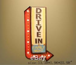 Vintage LED Light Hanging Metal Tin Signs Beer Plaque Pub Bar Art Wall Decor