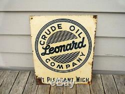 Vintage Leonard Oil Mt. Pleasant Michigan Tin Sign Neat Nr! Alma Leonard Gas
